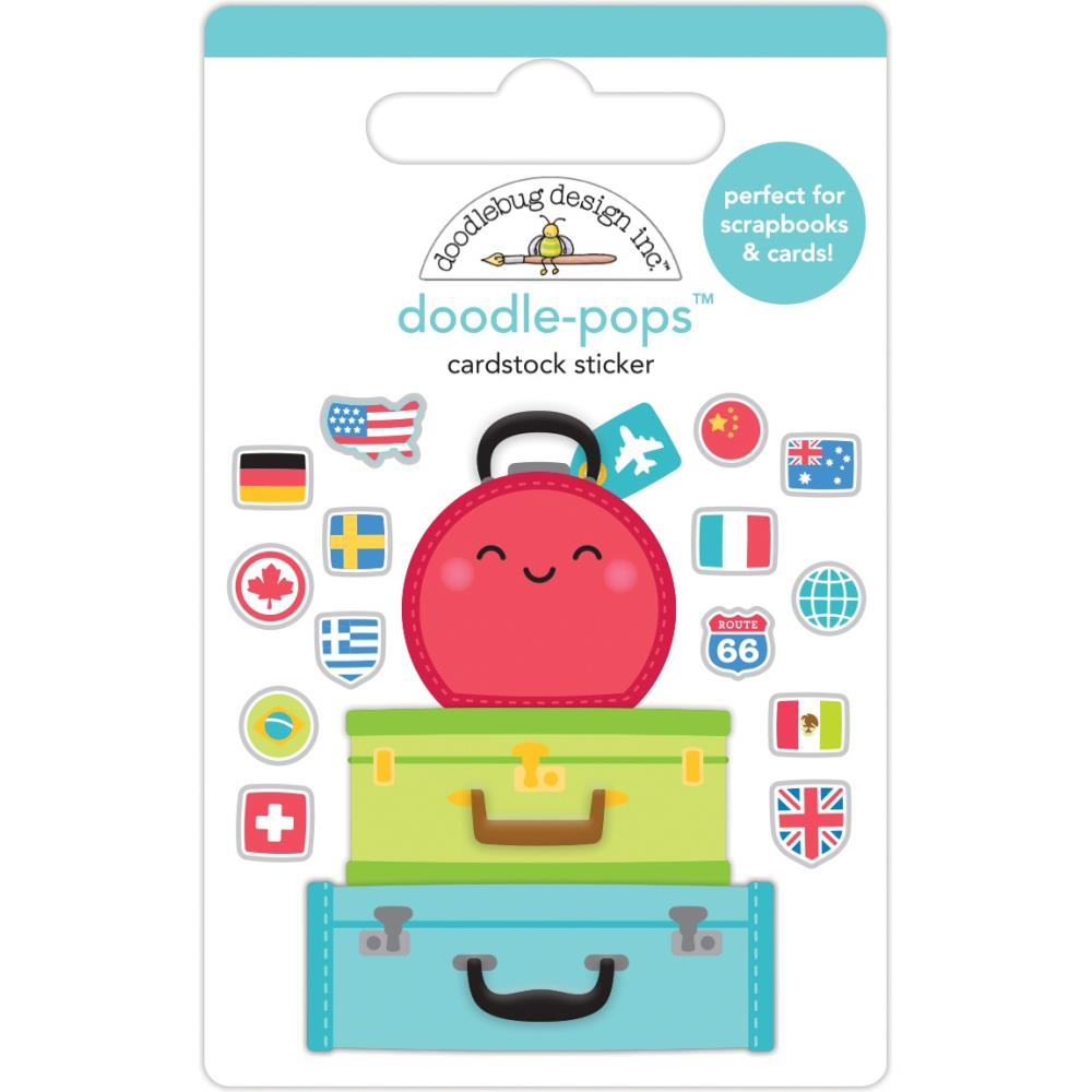 Pack Your Bags, I Heart Travel Doodle-Pops 3D Stickers