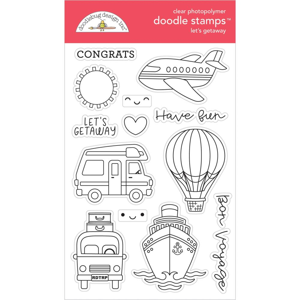 Let's Getaway, I Heart Travel Clear Doodle Stamps