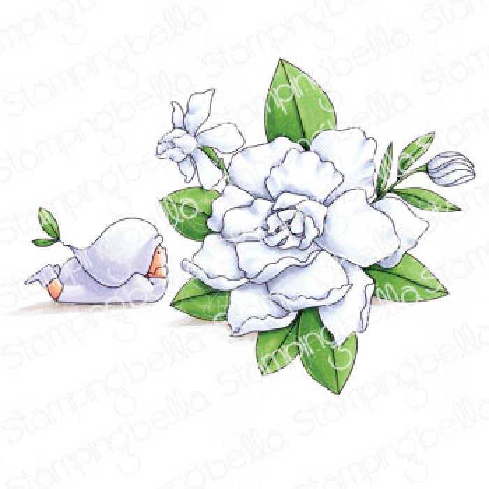 BUNDLE GIRL WITH A GARDENIA RUBBER STAMP