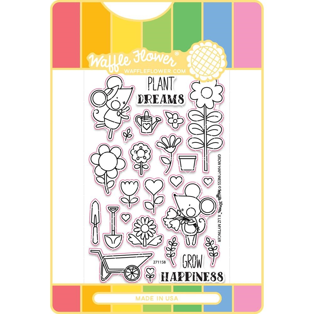 Grow Happiness Waffle Flower Stamp & Die Set
