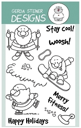 Winter Sport Santa 4x6 Clear Stamp Set