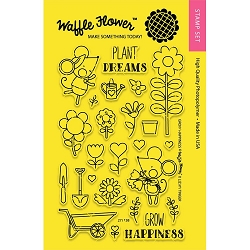 Grow Happiness Waffle Flower Stamp