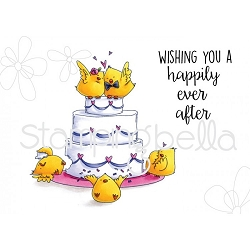 WEDDING CAKE CHICKS RUBBER STAMPS