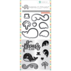 Whale Thanks Mama Elephant Stamp & Die Set 4