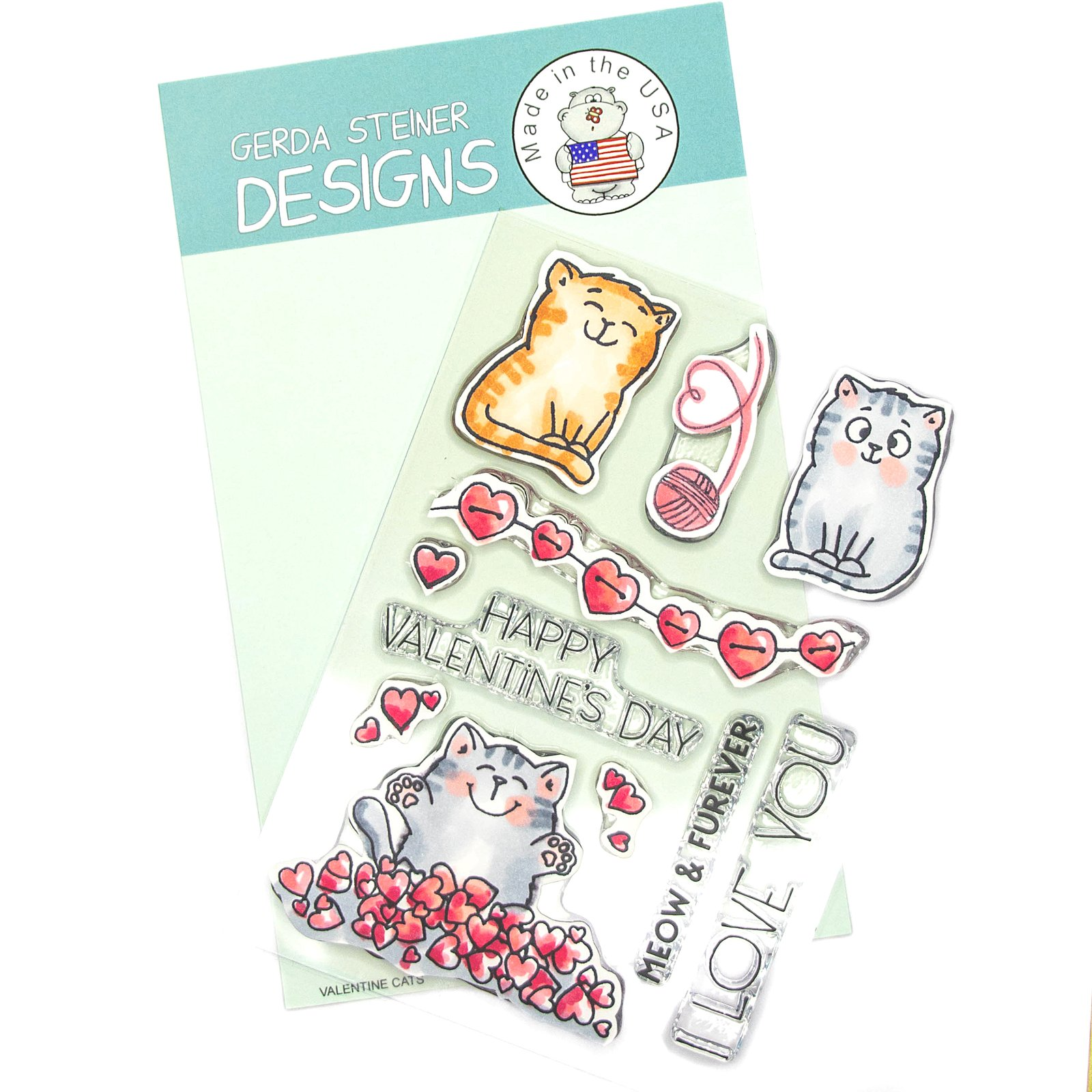 Valentine Cats 4x6 Clear Stamp Set