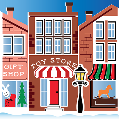 Christmas on Main Street 2-Pack Stencil