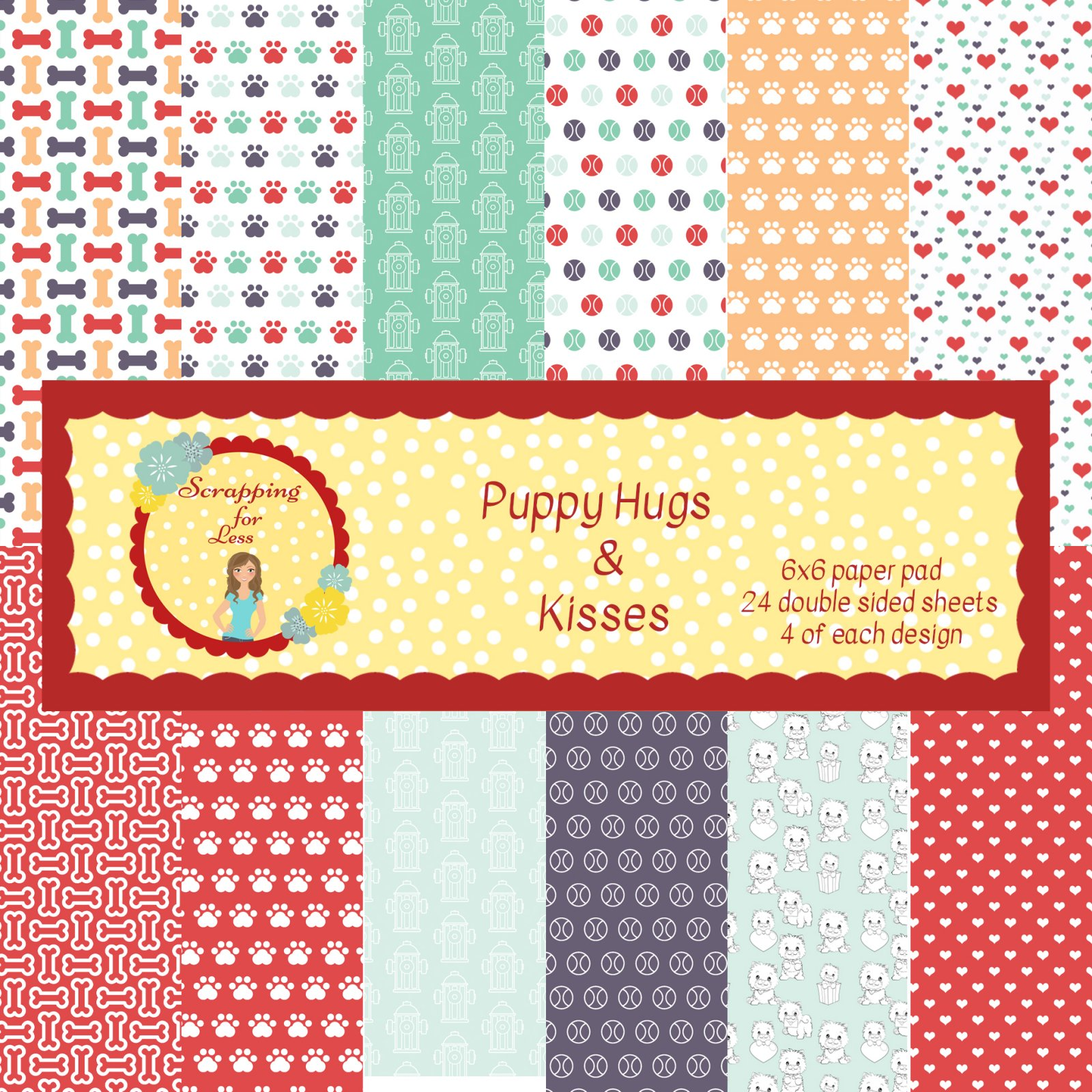 Puppy Hugs and Kisses 6X6 Scrapping for Less Paper Pad
