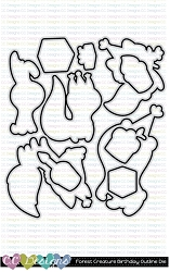 Forest Creatures Birthday Outline Metal Die