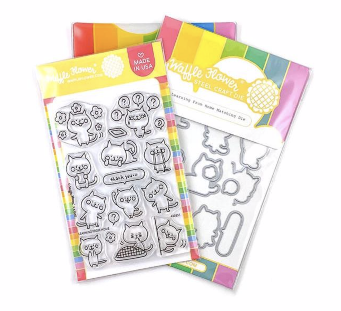 Learning From Home Waffle Flower Stamp & Die Set