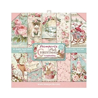 Pink Christmas Stamperia Double-Sided Paper Pad 8