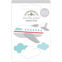 Jet Set, I Heart Travel Doodle-Pops 3D Stickers