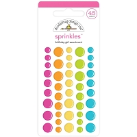Birthday Girl Assortment, Hey Cupcake Doodlebug Sprinkles Adhesive Enamel Shapes