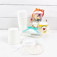 Set of 10 Mini Coffee Cups, Lids, Stoppers, and Gift bags