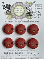 Cardinal in Wreath - Tin Pins