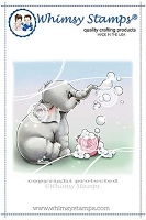 Ellie Blows Bubbles Rubber Cling Stamp
