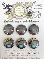 Scary Halloween Tin Pins