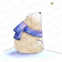 POLAR BEAR WISHING UPON A STAR RUBBER STAMP