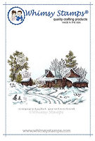 Wintry Cabin Rubber Cling Stamp