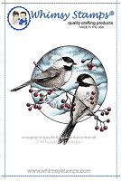 Chickadee and Berries Rubber Cling Stamp
