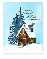 Cozy Cabin Rubber Stamp