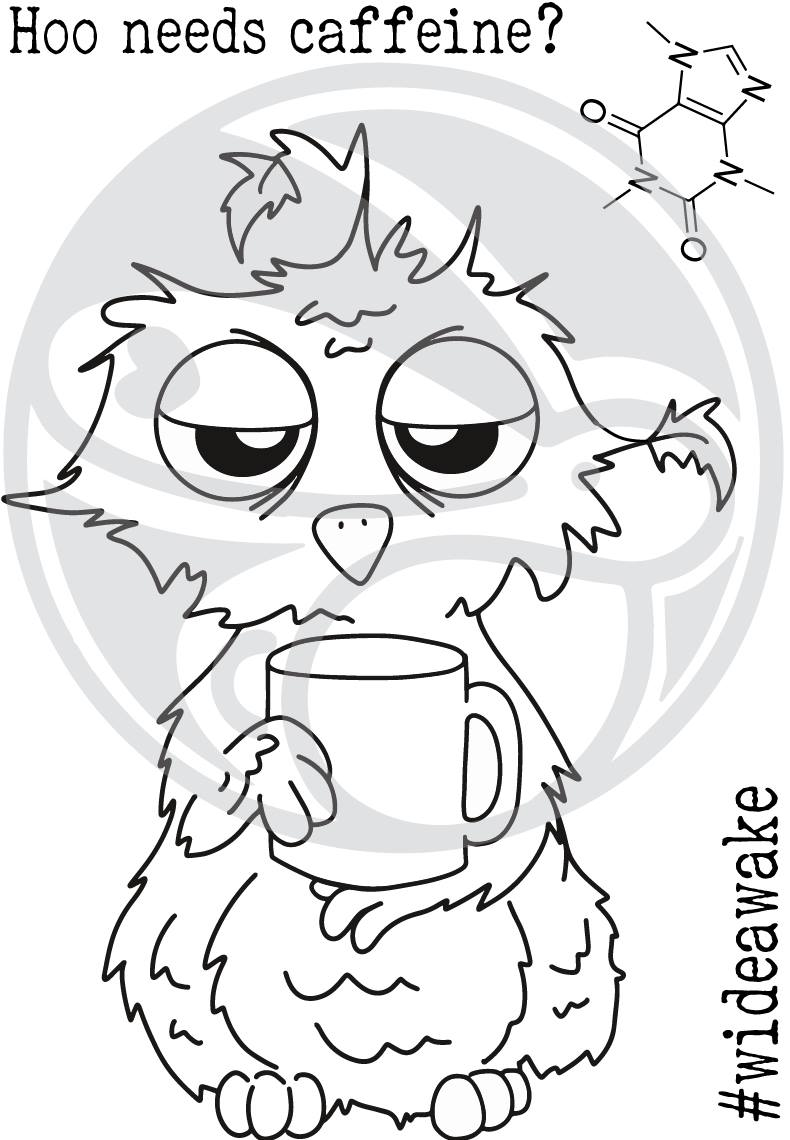 Caffeinated: Owl Clear Stamp 3x4