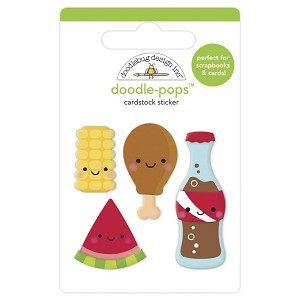 Foodie Friends, Bar-B-Cute Doodlebug Doodle-Pops 3D Stickers