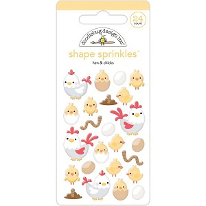 Hen & Chicks Adhesive Glossy Enamel Shapes