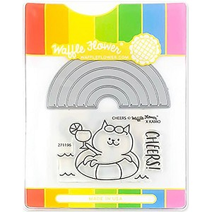 Rainbow Cheers Waffle Flower Stamp & Die Set