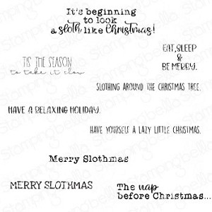 MERRY SLOTHMAS SENTIMENT SET ( SET OF 8 RUBBER STAMPS)
