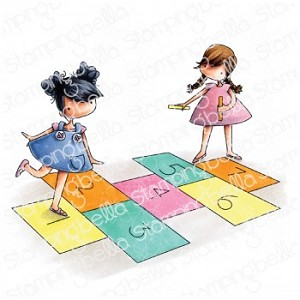 TINY TOWNIES PLAYING HOPSCOTCH RUBBER STAMP