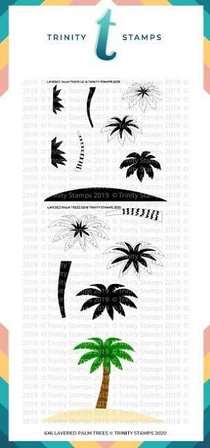Layered Palm Tree - 6x6 Laser Cut 2-Piece Stencil Set